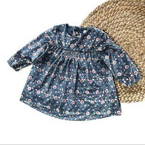 Zara Baby Girl   6-9M Floral Velvet Babydoll Dress